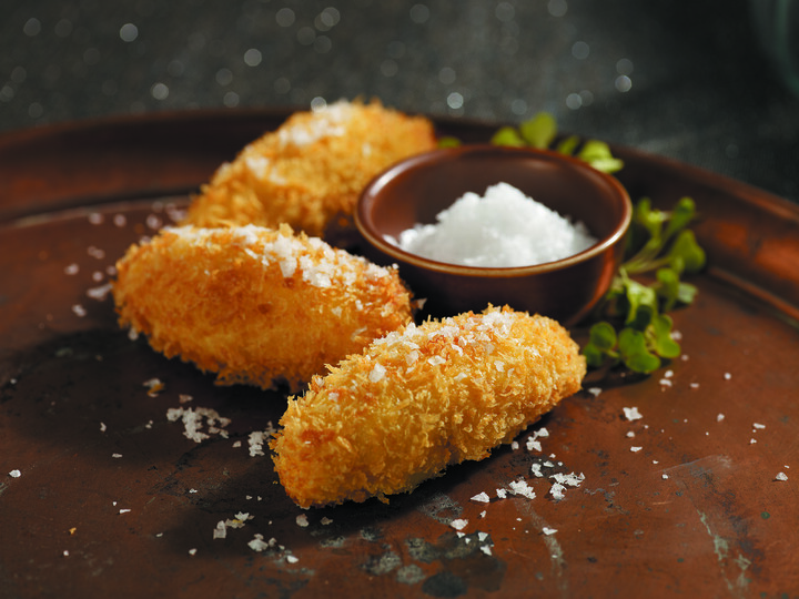"Crispy Yukon Potato ""Truffles"" with Truffle Cheese"