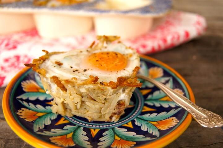Individual Idaho® Potato Crusted Eggs Florentine with Prosciutto