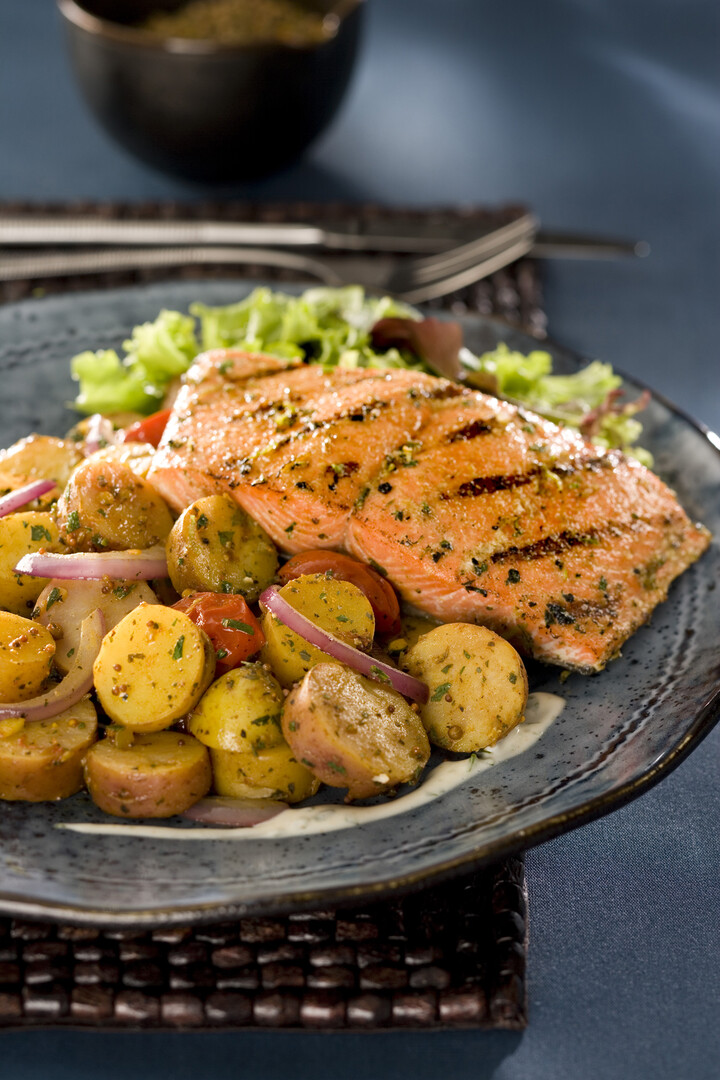 Salmon Calcutta with Idaho® Fingerling Potatoes
