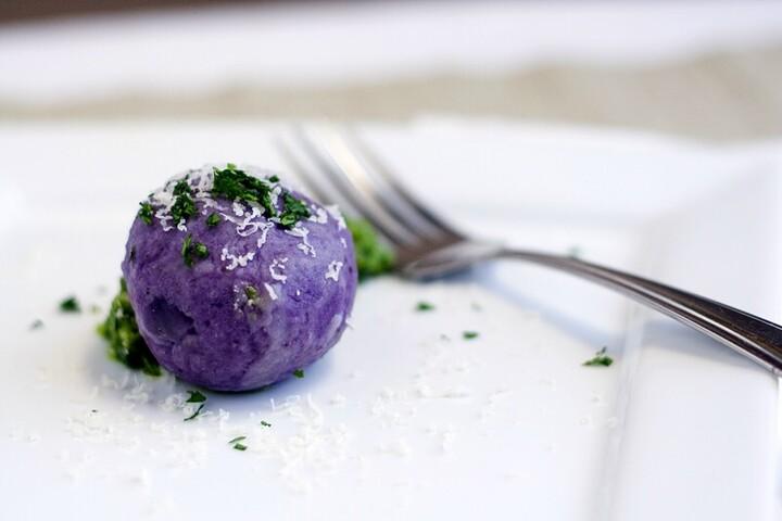 Idaho® Purple Potato Dumplings Stuffed with Gruyere and Parsley Walnut Pesto