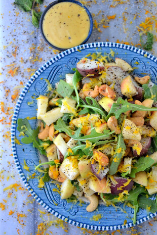 Arugula, Apple and Potato Salad with Creamy Cashew Dressing