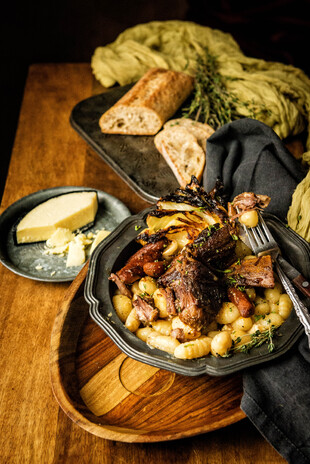Idaho® Potato Gnocchi with Stout Braised Short Ribs and Irish Cream Sauce