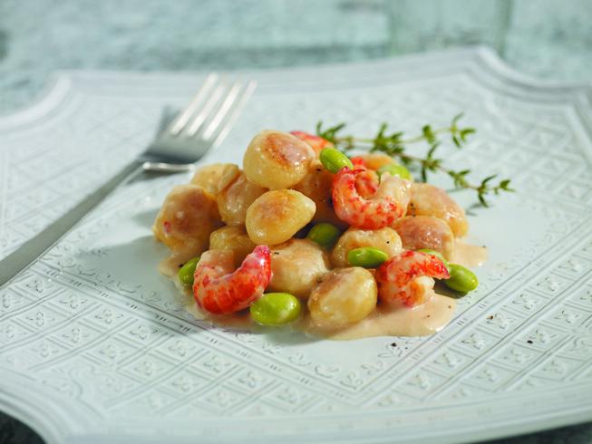 Potato Gnocchi with Local Edamame, Crawfish Marscapone