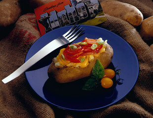 Baked Idaho® Potatoes with Red Pepper & Cheddar Cheese