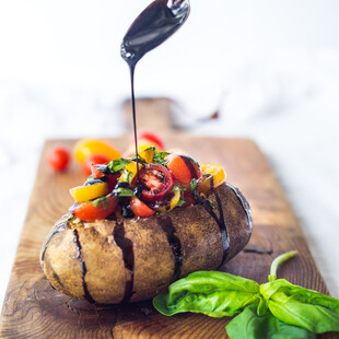 Baked Potato with Tomato-Basil Relish and Balsamic Drizzle