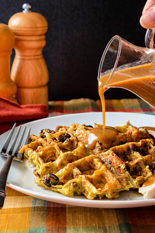 Potato Stuffing Waffles