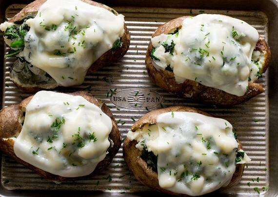 Broccoli, Kale& Cheese Stuffed Potatoes