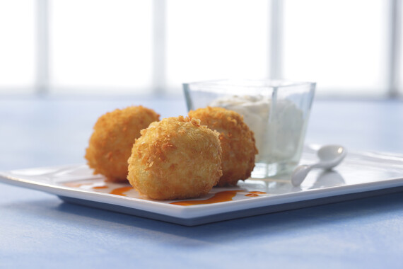 Idaho® Potatoes and Chicken Croquettes with Idaho® Potato-based Aioli and Spicy Paprika Oil