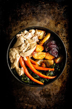 Roasted Roots and Chicken Power Bowl with Maple Aioli
