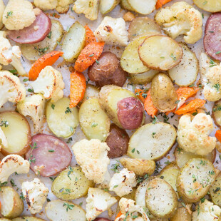 Easy Roasted Parmesan Herbed Idaho® Potatoes and Cauliflower