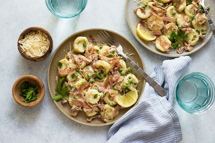 Idaho® Potato Gnocchi with Spring Peas and Prosciutto