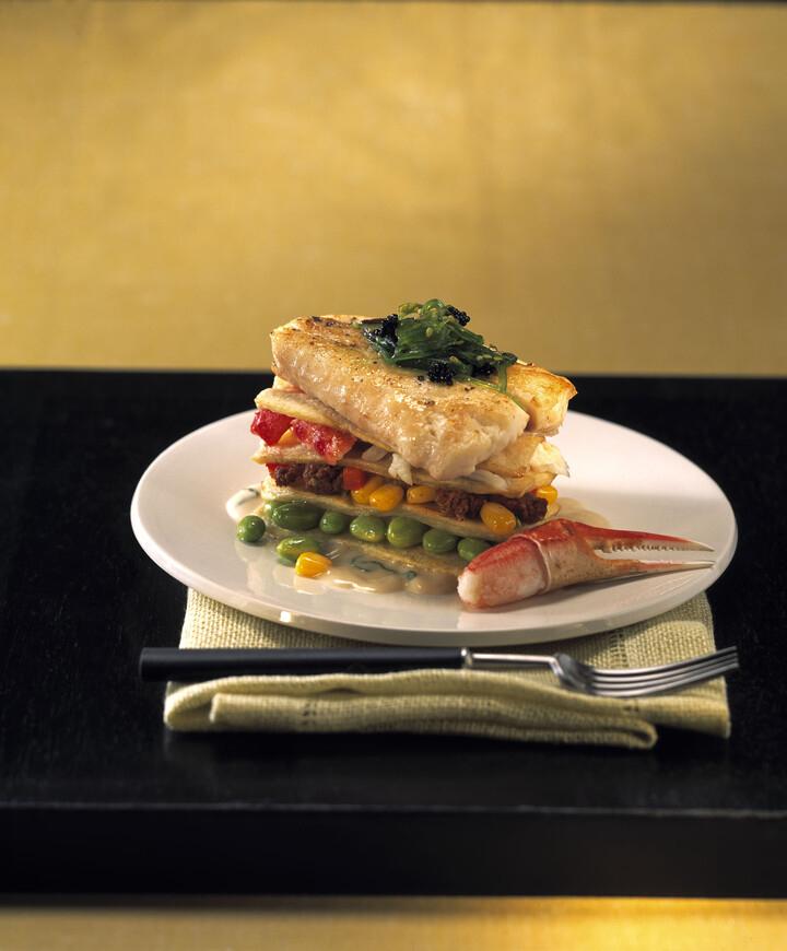 Lasagna of Idaho® Potato with Halibut and Lemon Grass Curry Sauce