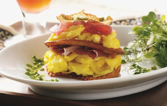 Idaho® Potato Eggs Napoleon with Prosciutto and Arugula Pesto