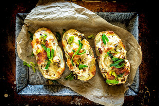 Roasted Artichoke and Virginia Ham Stuffed Idaho® Potatoes