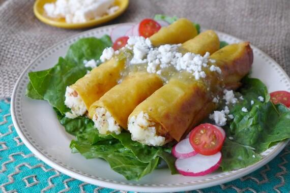 Potato and Epazote Taquitos with Salsa Verde