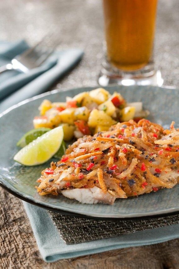 Parmesan, Potato and Tortilla Encrusted Tilapia with Tropical Salsa
