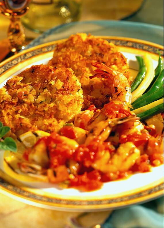 Idaho® Potato Cakes with Grilled Shrimp