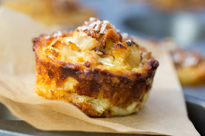 Idaho® Potato-Crusted Mini Cauliflower Gruyere Pies with Bacon Parmigiano Crumb Topping