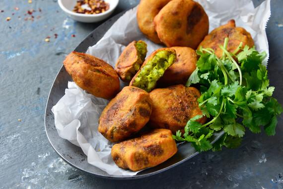 Mustard- or Garlic-Spiked Crispy Potato Cakes