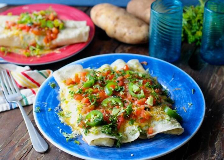 Idaho® Potato Enchiladas with Cilantro Crema