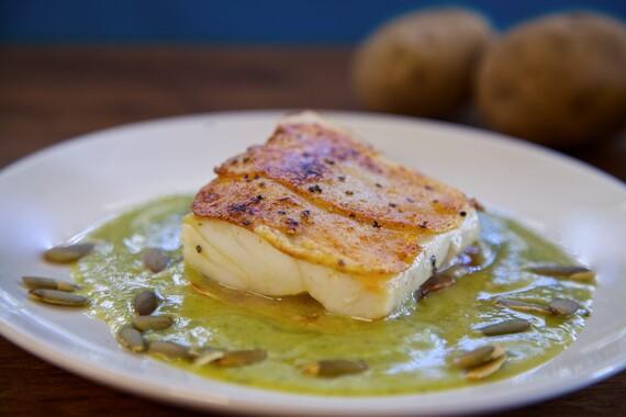 Potato Crusted Alaskan Cod In Spicy Zucchini Pepita Sauce
