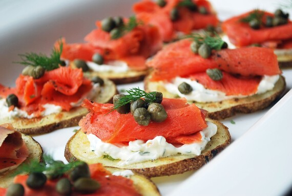 Yogurt & Chive Potato Rounds with Smoked Salmon & Capers