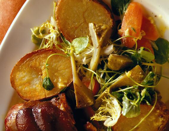 Salad of Artichoke and Potato with Barigoule Vinaigrette, Ham Hock and Garlic Aioli