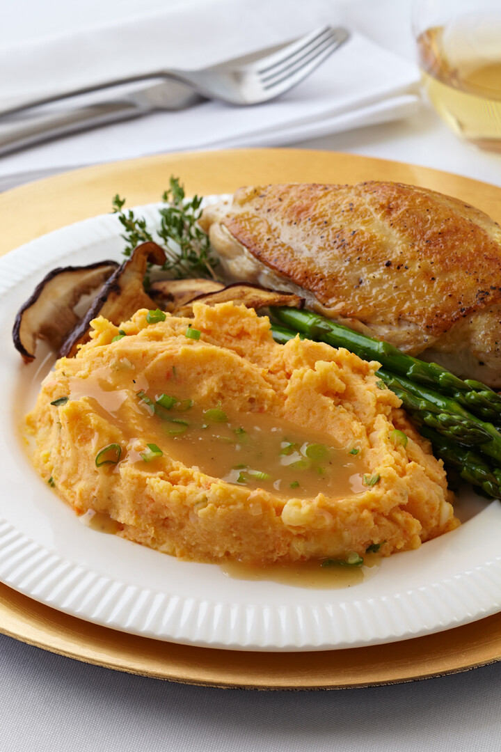 Chicken Breast with Shiitake Mushroom Sauce and Carrot-Thyme Crushed Idaho® Potatoes