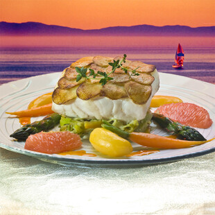 Idaho® Potato Crusted Sea Bass with Grilled Leek-Fennel Compote