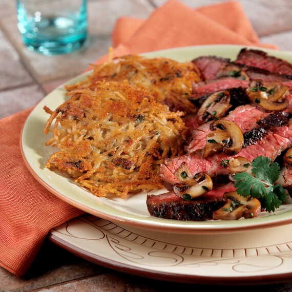 Cheddar Bacon Potato Cakes with Cervesa Lime Skirt Steak