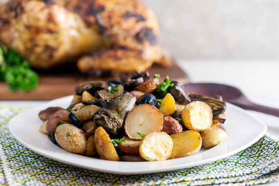 Roast Idaho® Potatoes with Artichokes, Mushrooms and Olives