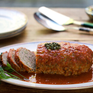 Sicilian Turkey Meat Loaf with Idaho® Potatoes, Capers and Wine