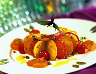 Grilled Idaho® Potato Salad with Warm Goat Cheese and Yellow Tomato Vinaigrette