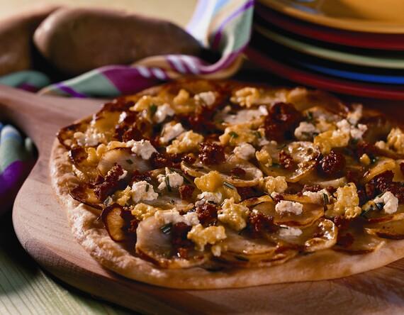 Roasted Idaho® Potato Breakfast Pizza, Lemon Roast Garlic Ricotta Linquica and Scrambled Eggs