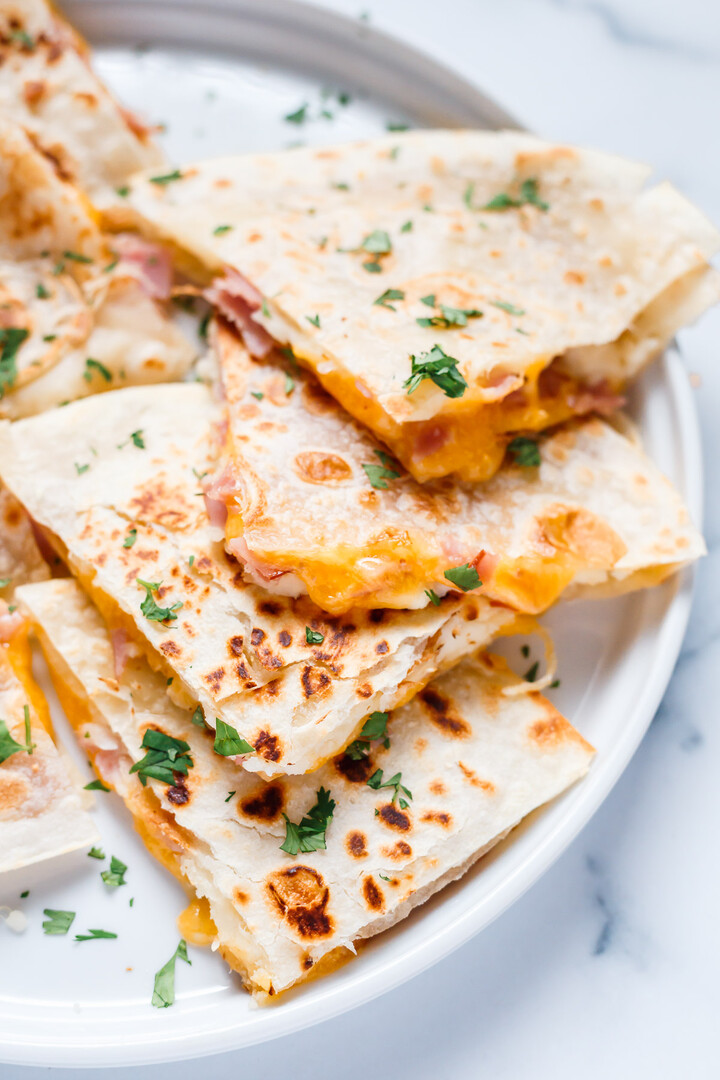 Potato Quesadillas with Ham and Cheese