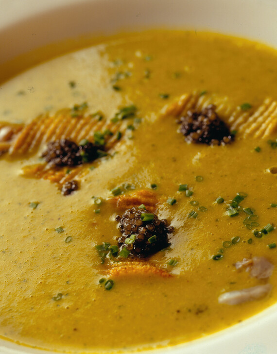 Oyster and Idaho® Potato Bisque with Madras Curry and Caviar Potato Chips