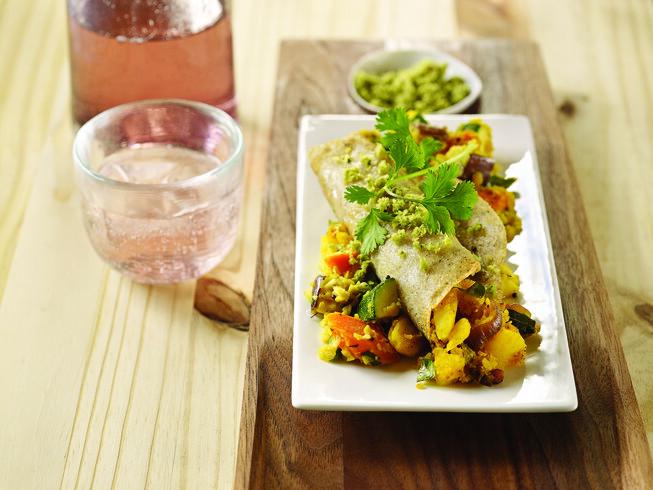 Masala Dosa: South Indian Crepe Stuffed With Turmeric Potatoes With Sambhar And Coconut Chutney