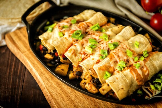 30 Minute Meatless Idaho® Potato and Bean Stuffed Enchiladas