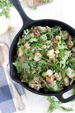 Skillet Potato Salad with Bacon and Arugula