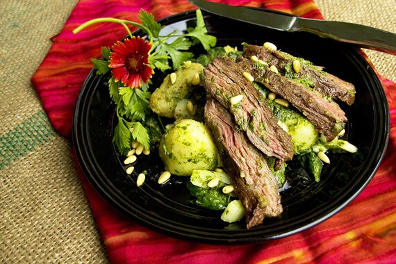 Grilled Skirt Steak with Warm Chimichurri Idaho® Potato Salad