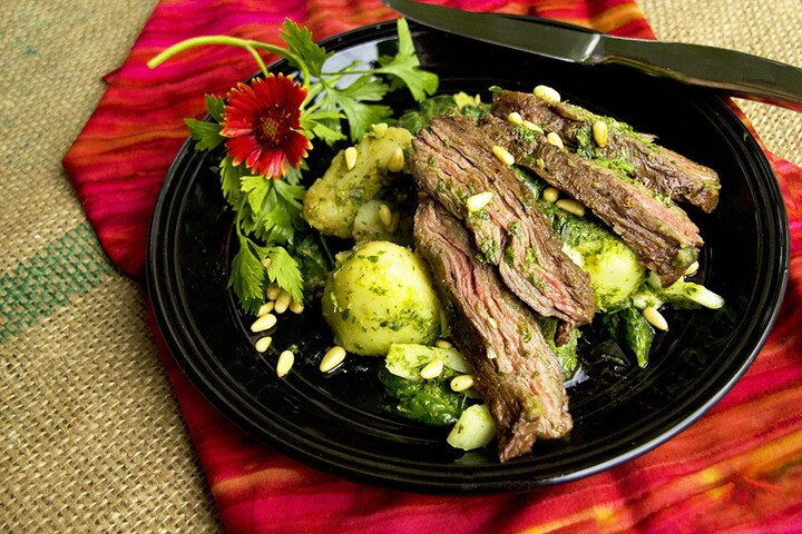 Grilled Skirt Steak with Warm Chimichurri Idaho® Potato Salad