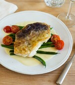 Idaho® Potato Crusted Walleye with Green Beans, Cherry Tomatoes and Beurre Blanc
