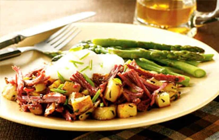 Idaho® Potato Corned Beef Hash with Poached Egg