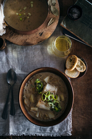Baked Cod with Leek and Potato Soup