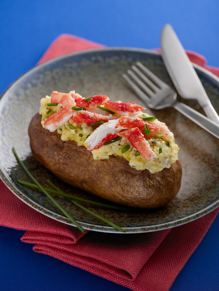 Baked Idaho® Potato with King Crab and Gouda