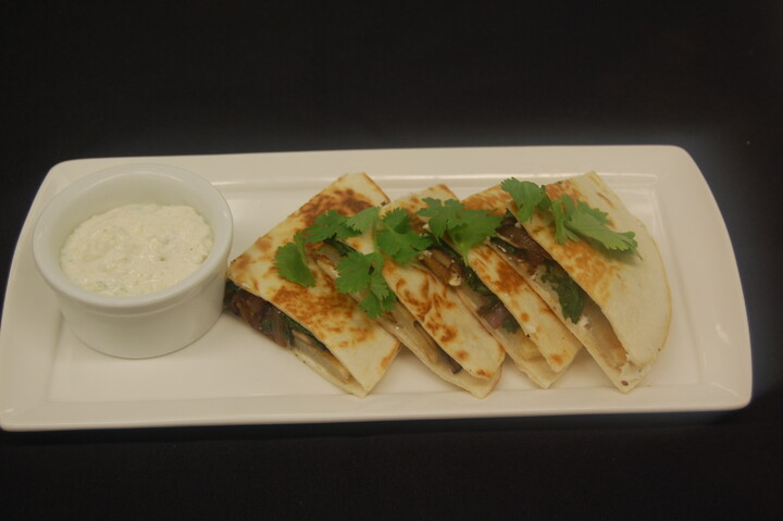 Idaho® Potato and Goat Cheese Quesadilla with Scallion-Horseradish Cream