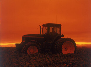 2007-2008 harvest with tractor at sunset