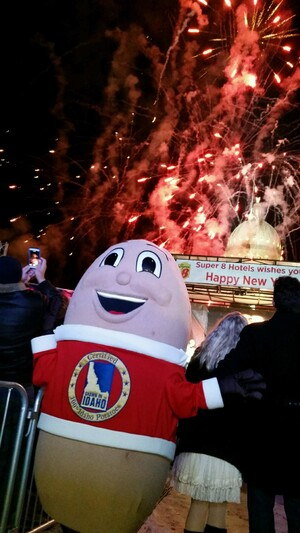 IT WAS NOISY IN BOISE WITH NEW YEAR'S EVE REVELERS CELEBRATING AS A GIANT IDAHO® POTATO DROPPED AT MIDNIGHT