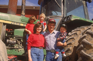Idaho family on tractor