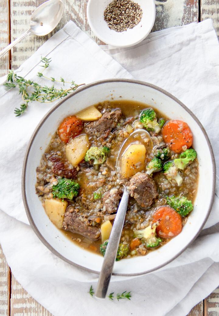 Beef Buckwheat Soup with Idaho® Potatoes and Broccoli